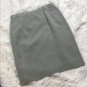 Pleated Lined Green Polyester Skirt Size 12